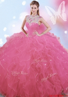 Affordable Big Puffy Beaded and Ruffled High Neck Quinceanera Dress