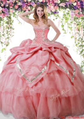 Beautiful Organza Beaded and Bubble Watermelon Red Quinceanera Dress
