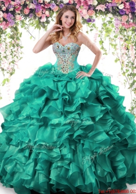 Best Selling Beaded and Ruffled Organza Quinceanera Gown in Turquoise