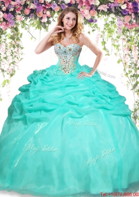 Cheap Apple Green Sweet 16 Dress with Beading and Bubbles