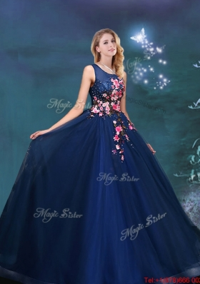 Exclusive Navy Blue Scoop Quinceanera Gown with Applique Decorated Bodice