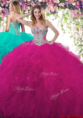 Exquisite Beaded and Ruffled Fuchsia Sweet 16 Dress in Tulle