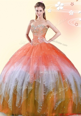 Fashionable Tulle Beaded Sweet 16 Dress in Rainbow Colored