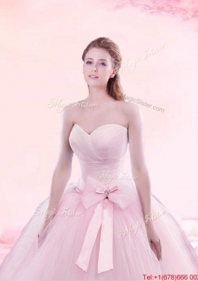Hot Sale Brush Train Baby Pink Quinceanera Gown with Bowknot and Ruching