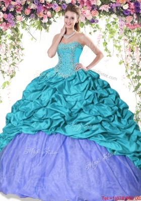 Inexpensive Beaded and Bubble Turquoise and Lavender Quinceanera Dress