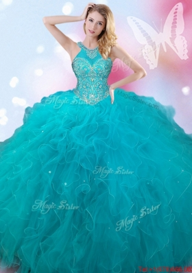 Inexpensive Beaded and Ruffled Teal Quinceanera Dress with Halter Top