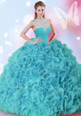 Latest Beaded and Ruffled High Neck Quinceanera Dress in Aquamarine