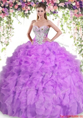 Lovely Puffy Skirt Beaded and Ruffled Quinceanera Dress in Lilac