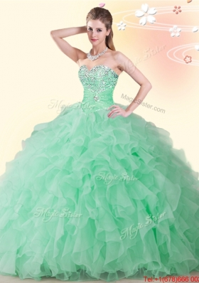 Lovely Really Puffy Beaded and Ruffled Quinceanera Dress in Apple Green