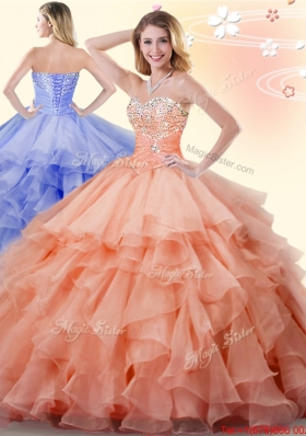 Low Price Beaded and Ruffled Orange Quinceanera Dress in Organza