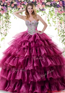 Luxurious Ruffled Layers Organza Fuchsia Quinceanera Gown with Beading