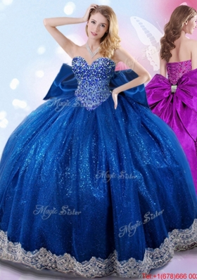 New Arrivals Bowknot Royal Blue Quinceanera Dress with Beaded Bodice