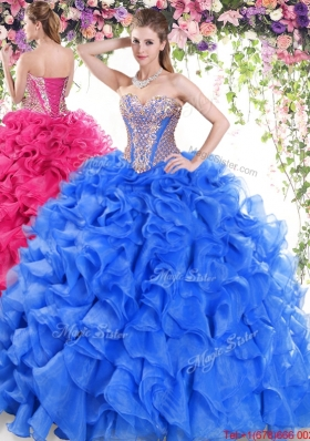 New Arrivals Organza Ruffled and Beaded Quinceanera Dress with Brush Train