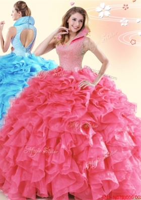 Perfect High Neck Ruffled and Beaded Coral Red Quinceanera Dress in Organza
