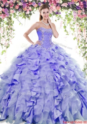 Summer Luxurious Ruffled and Beaded Quinceanera Dress in Lavender