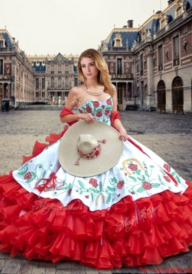 ab9f04bd459 Luxurious White and Red Quinceanera Dresses with Ruffled Layers and  Embroidery