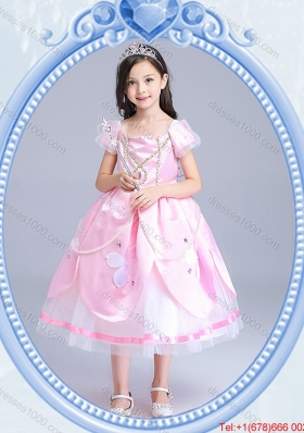 Halloween Best Zipper Up Baby Pink Little Girl Pageant Dress with Short Sleeves