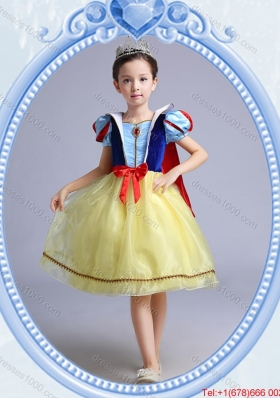Halloween Sweet Short Sleeves Yellow Bowknot Little Girl Pageant Dress in Organza