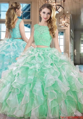 Discount Two Piece Square Ruffled Organza Quinceanera Dress in Apple Green
