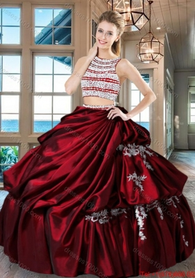 Hot Sale Taffeta Wine Red Quinceanera Dress with Beaded Bodice and Bubbles