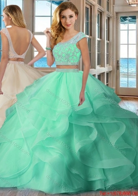 Pretty Puffy Scoop Brush Train Backless Two Piece Quinceanera Dresses with Cap Sleeves
