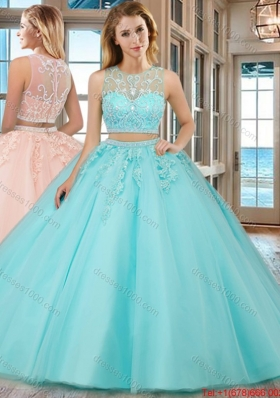 See Through Two Piece Scoop Brush Train Aqua Blue Quinceanera Dresses with Beading and Appliques