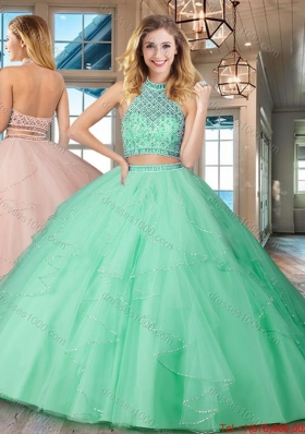 9ae38ef39c Affordable Two Piece Halter Top Backless Mint Quinceanera Dress in Tulle