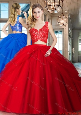 Beautiful Two Piece Puffy Skirt Red Tulle Quinceanera Dress with Zipper Up