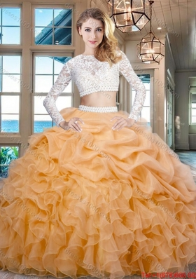 20e1cc4848 Cheap Beaded Laced Ruffled and Bubble Zipper Up Quinceanera Dress in Gold