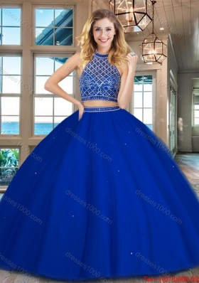 Discount Beaded Bodice Halter Top Backless Quinceanera Dress in Royal Blue