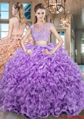 Elegant See Through Scoop Cap Sleeves Zipper Up Organza Quinceanera Gown