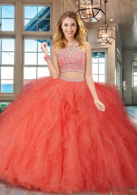 Hot Sale Two Piece Puffy Skirt Quinceanera Gown with Ruffles and Beading