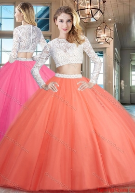 Wonderful Two Piece Zipper Up Tulle Quinceanera Dress with Lace and Beading