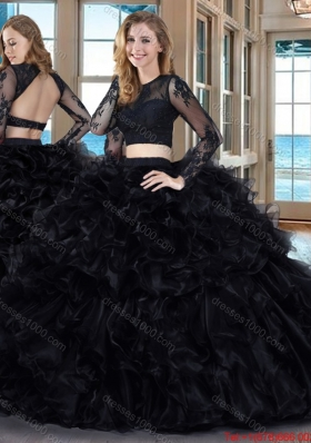 Sexy Two Piece Ball Gown Scoop Ruffled Backless Long Sleeves Quinceanera Dresses in Black