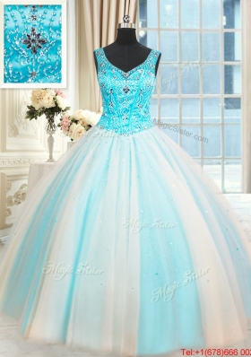 Best Selling V Neck Beaded White and Blue Quinceanera Dress in Tulle