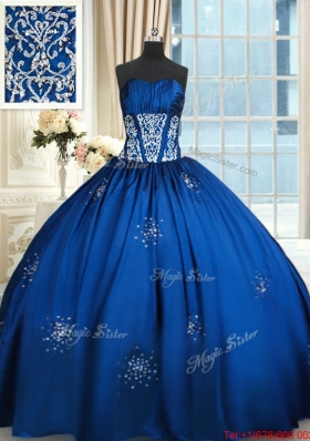 Cheap Floor Length Taffeta Royal Blue Quinceanera Dress with Beading