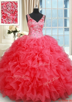 Classical V Neck Ruffled and Beaded Coral Red Quinceanera Dress with Open Back