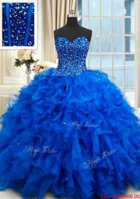 Most Popular Visible Boning Royal Blue Quinceanera Dress with Ruffles and Beading