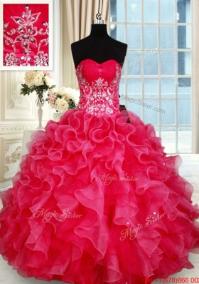 New Style Organza Sweetheart Red Quinceanera Dress with Beading and Ruffles