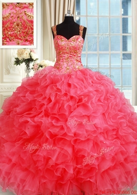 New Style Straps Organza Coral Red Sweet 16 Dress with Ruffles and Beading