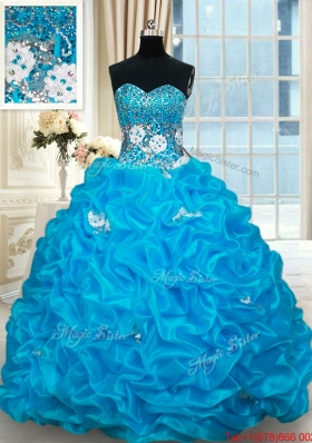 Pretty Beaded and Bubble Baby Blue Quinceanera Dress with Brush Train