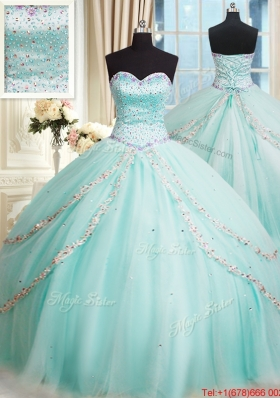 Romantic Tulle Beaded Bodice Apple Green Quinceanera Dress with Brush Train