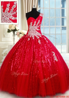 Wonderful One Shoulder Applique and Beaded Quinceanera Dress in Tulle and Sequins