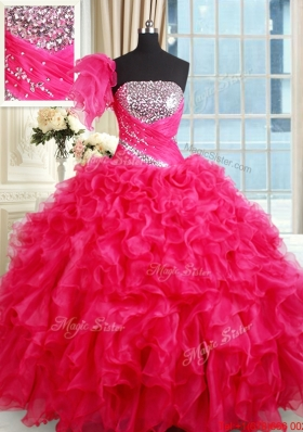 Affordable Strapless Organza Hot Pink Quinceanera Dress with Ruffles and Sequins
