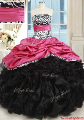 Beautiful Zebra Strapless Hot Pink and Black Quinceanera Dress with Ruffles and Bubbles