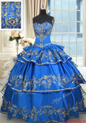 Best Selling Taffeta Beaded Quinceanera Dress with Embroidery and Ruffled Layers