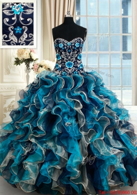 Designer Brush Train Beaded Top Embroideried Quinceanera Dress in Multi Color