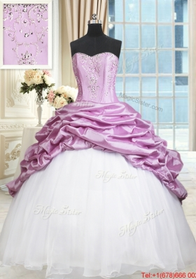 Elegant Beaded and Bubble Lilac and White Quinceanera Dress in Organza and Taffeta
