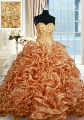 Fashionable Beaded and Bubble Organza Champagne Quinceanera Dress with Brush Train