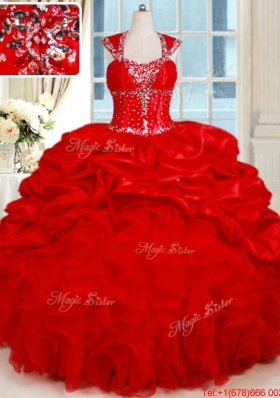 Gorgeous Organza and Taffeta Red Quinceanera Dress with Ruffles and Bubbles